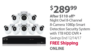 Night Owl 8-Channel 8-Camera 1080p Smart Detection Security System with 1TB HDD DVR