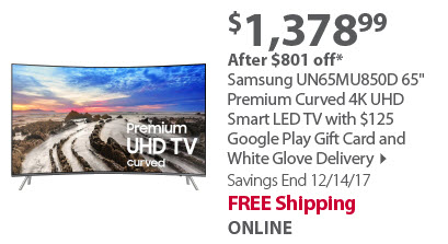 Samsung UN65MU850D 65' Premium Curved 4K UHD Smart LED TV with $125 Google Play Gift Card and White Glove Delivery