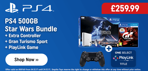 PS4 White 500GB Star Wars: Battlefront II Bundle & Extra Controller & GT Sport & PlayLink Game