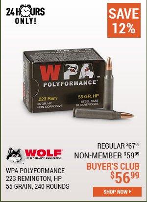 Wolf WPA Polyformance, .223 Remington, HP, 55 Grain, 240 Rounds