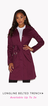 LONGLINE BELTED TRENCH AVAILABLE UP TO 3X