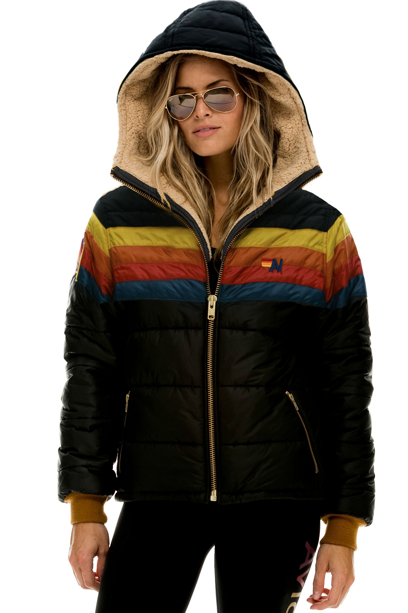 NEW! TREKKER LIGHT HOODED PUFFER JACKET - BLACK // RAINBOW - UNISEX