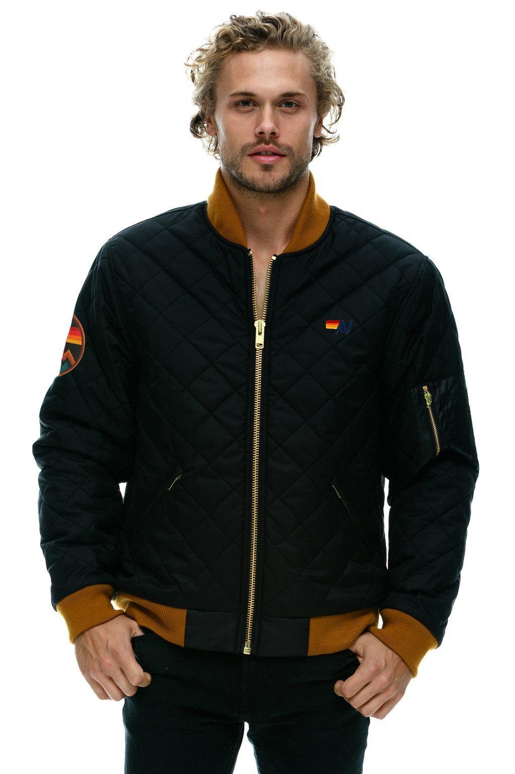 NEW! MACH 2 BOMBER QUILTED BOMBER JACKET - BLACK - UNISEX