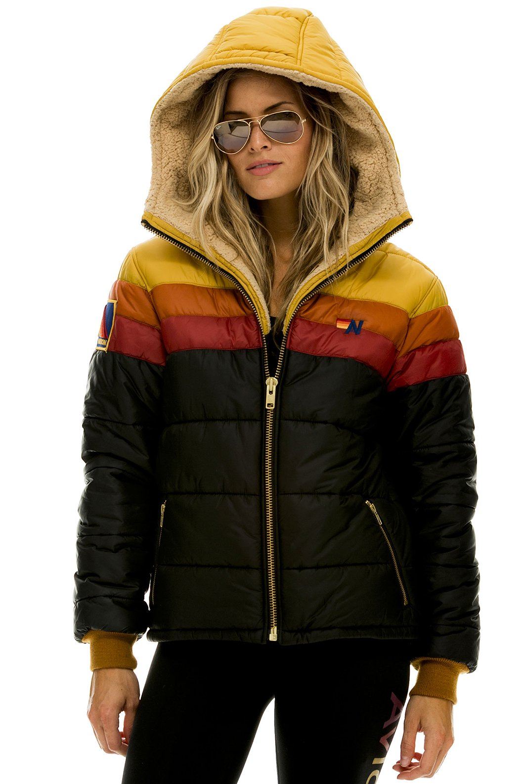 TREKKER HOODED PUFFER JACKET - BLACK // RED - UNISEX