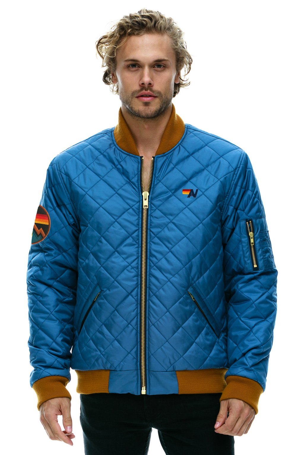 NEW! MACH 2 QUILTED BOMBER JACKET - VINTAGE BLUE - UNISEX