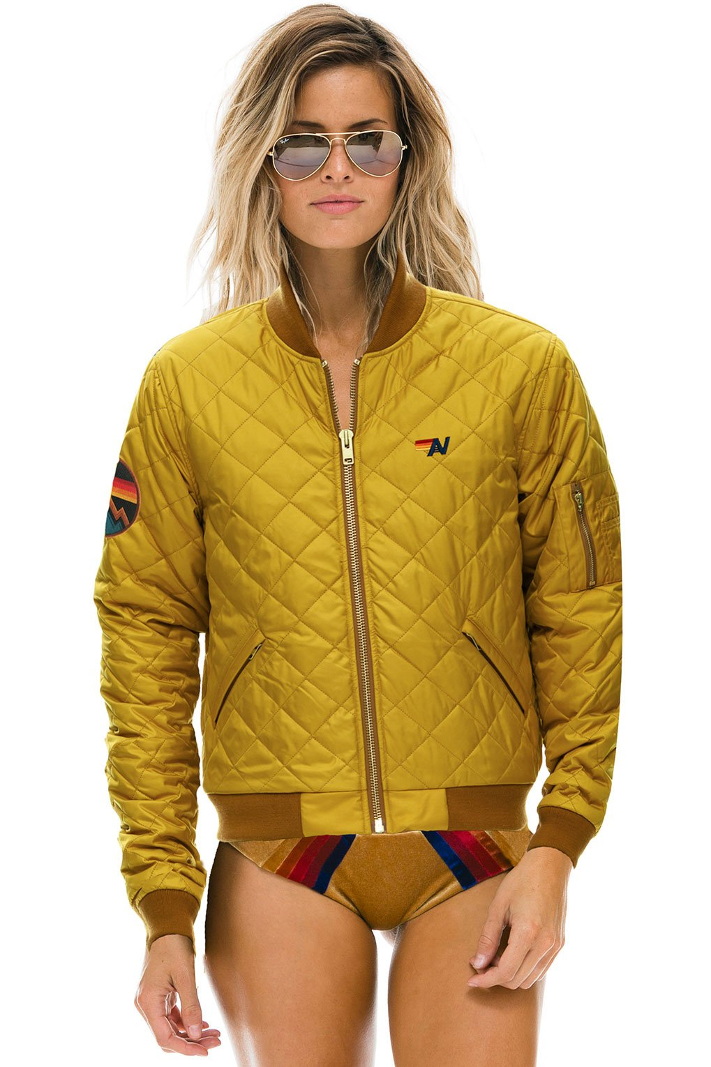 NEW! MACH 2 QUILTED BOMBER JACKET - VINTAGE GOLD - UNISEX