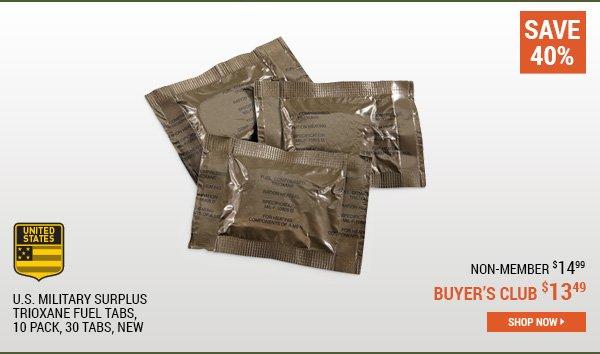 U.S. Military Surplus Trioxane Fuel Tabs, 10 Pack, 30 Tabs, New