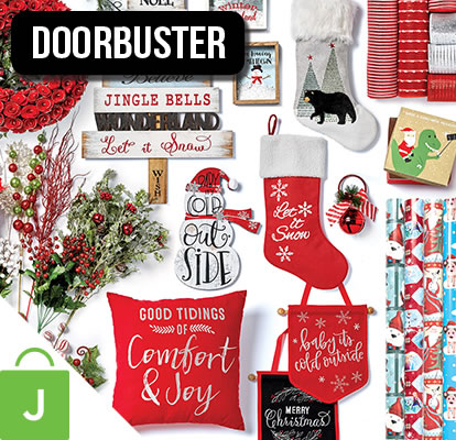 Holiday Decor, Trim-A-Tree, Floral, Containers, Gift Wrap, Ribbon AND Bows and Deco Mesh.