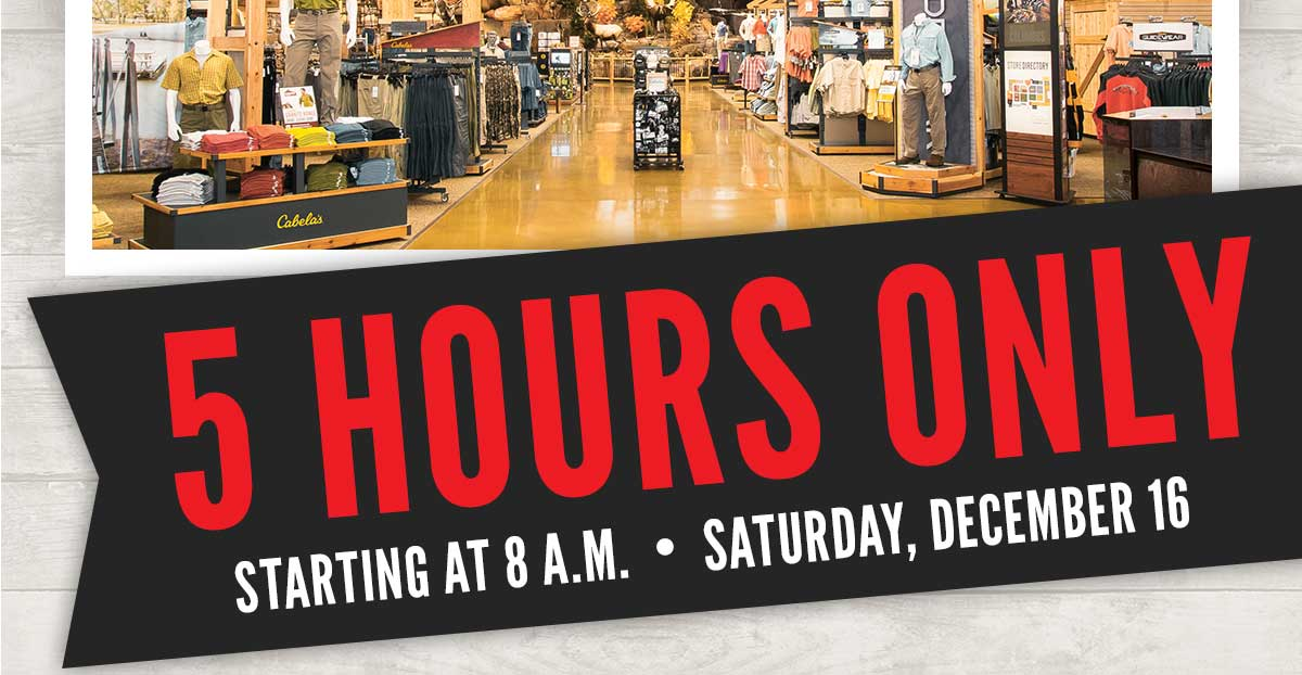 5 Hours Only - Starting At 8 A.M. - Saturday, Dec. 16