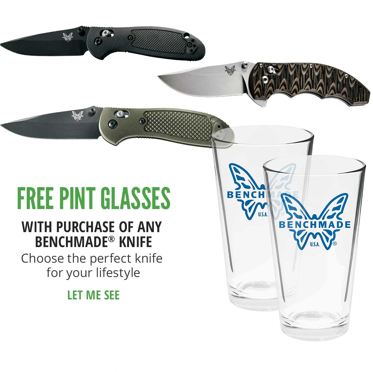 Free Pint Glasses With Purchase Of Any Benchmade Knife