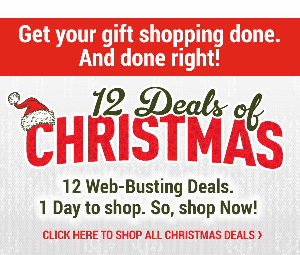 12 Deals of Christmas. 12 Web-Busting Deals. 1 Day to Shop. So Shop Now!
