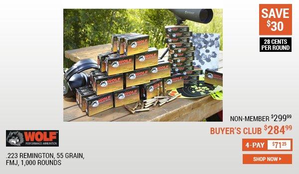 Wolf Gold, .223 Remington, 55 Grain, FMJ, 1,000 Rounds
