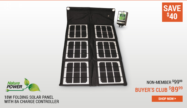 Nature Power 18W Folding Solar Panel with 8A Charge Controller