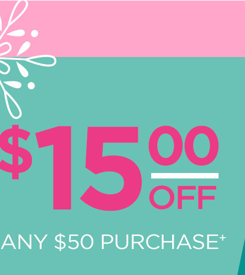 $15 off any $50 purchase+