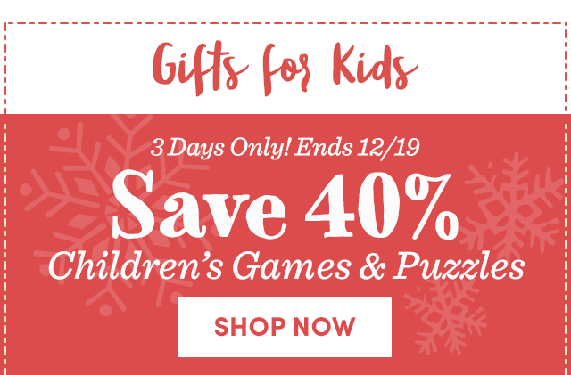 Save 40% On Children's Games & Puzzles