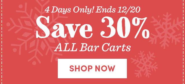 Save 30% ALL Bar Carts