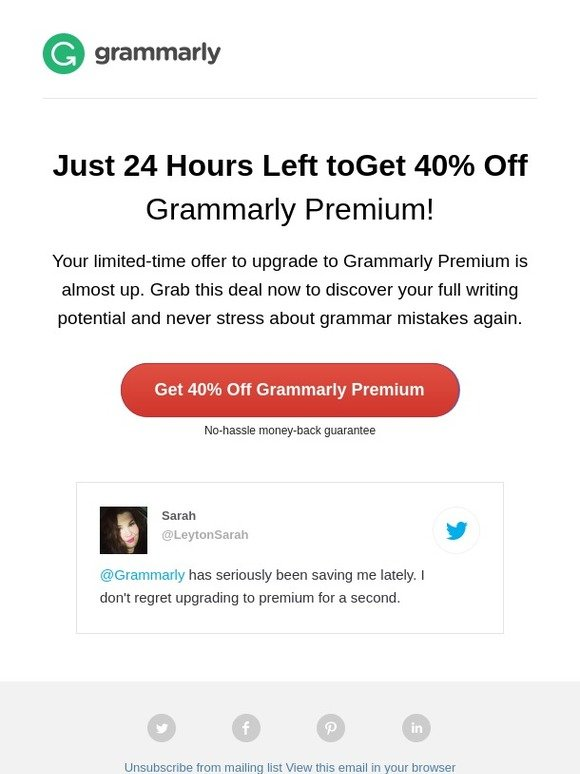 Grammarly, Inc : Last Chance: 40% Off a Grammarly Premium