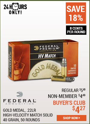 Federal Gold Medal, .22LR, High-Velocity Match Solid, 40 Grain, 50 Rounds
