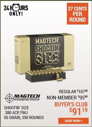 Magtech Shootin' Size, .380 ACP, FMJ, 95 Grain, 350 Rounds