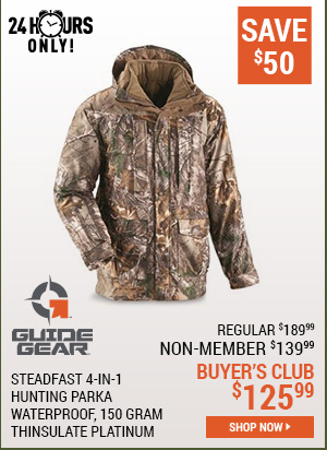 Guide Gear Steadfast 4-in-1 Hunting Parka, 150 Gram Thinsulate Platinum with X-Static, Waterproof