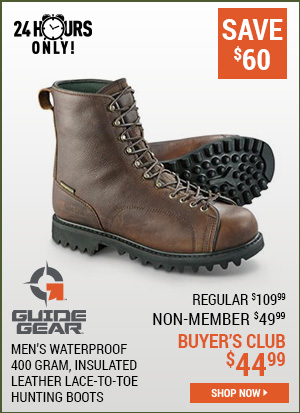 Guide Gear Men's Waterproof Insulated Leather Lace-To-Toe Hunting Boots, 400 Grams