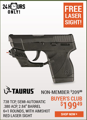 Taurus 738 TCP, Semi-Automatic, .380 ACP, 2.84 Inch Barrel, 6+1 Rounds, with AimSHOT Red Laser Sight