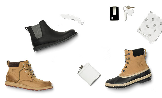Men's boots and accessories against a white background.