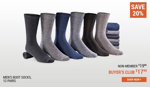 Men's Boot Socks, 12 Pairs