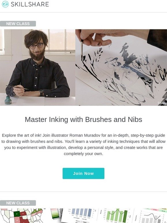Skillshare: New Classes: Inking Techniques with Roman