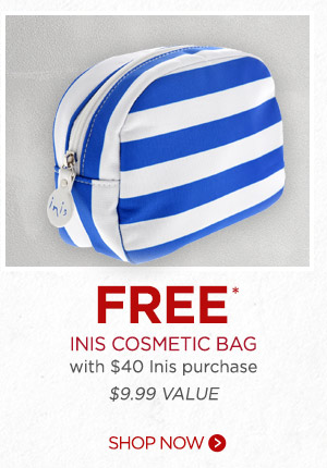 FREE Inis Cosmetic Bag with $40 purchase ($9.99 value). Shop now.