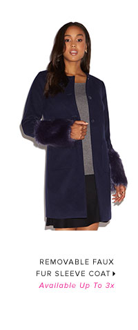 REMOVABLE FAUX FUR SLEEVE COAT AVAILABLE UP TO 3X