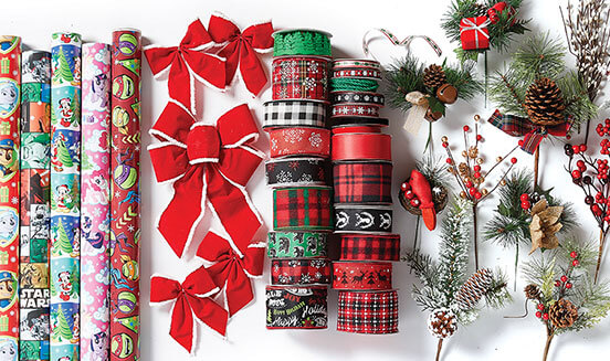 Blooming Holiday Floral, Maker's Holiday Decor, Holiday Ribbon, Gift Wrap, Baskets and Tins.