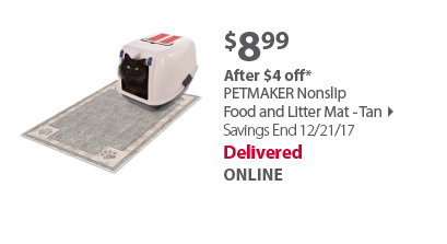 PETMAKER Nonslip Food and Litter Mat - Tan