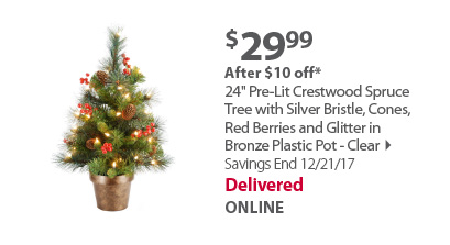 24' Pre-Lit Crestwood Spruce Tree with Silver Bristle, Cones, Red Berries and Glitter in Bronze Plastic Pot - Clear