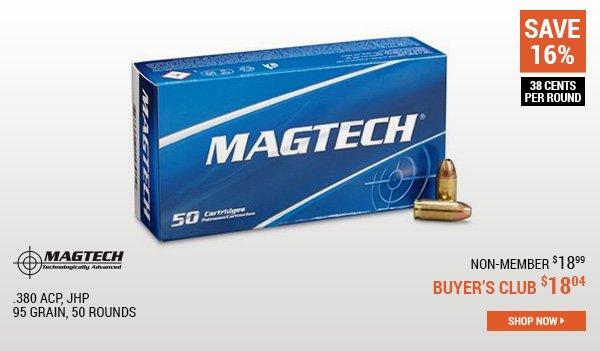 Magtech, .380 ACP, JHP, 95 Grain, 50 Rounds