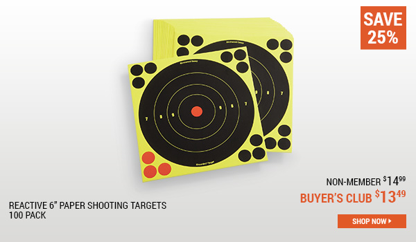 Reactive 6 Inch Paper Shooting Targets, 100 Pack