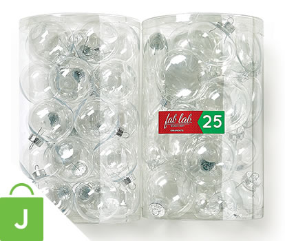 Fab Lab 25 Pc Clear Ornament Tubes.