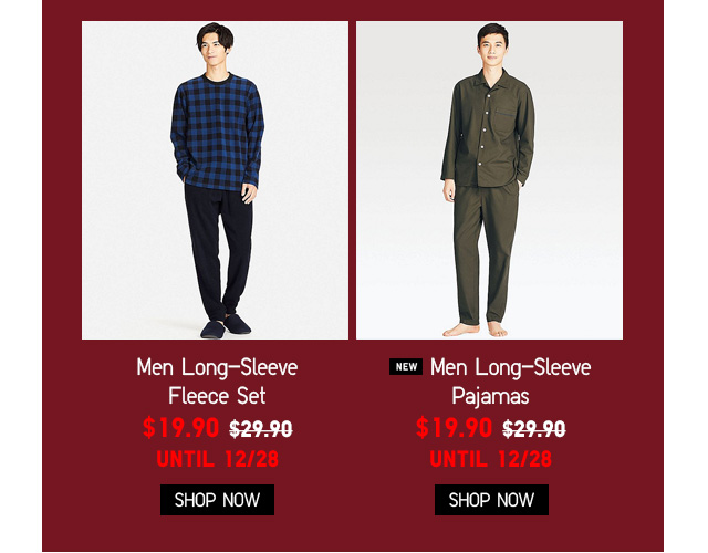 Men Long-Sleeve Fleece & Pajamas NOW $19.90