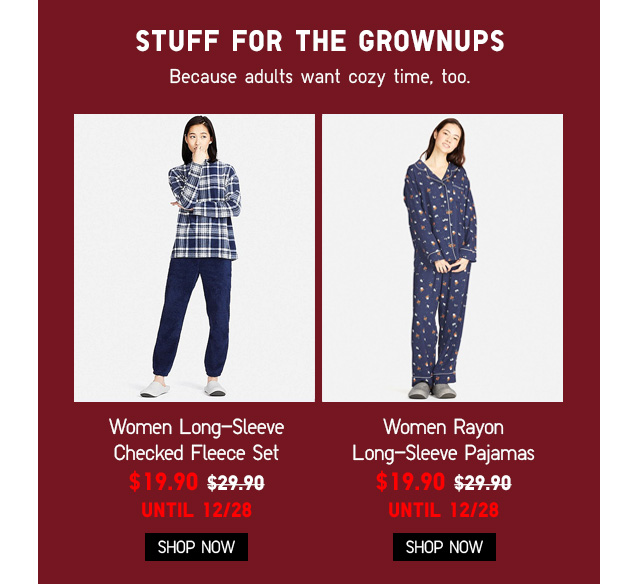 Women Long-Sleeve Fleece & Pajamas NOW $19.90