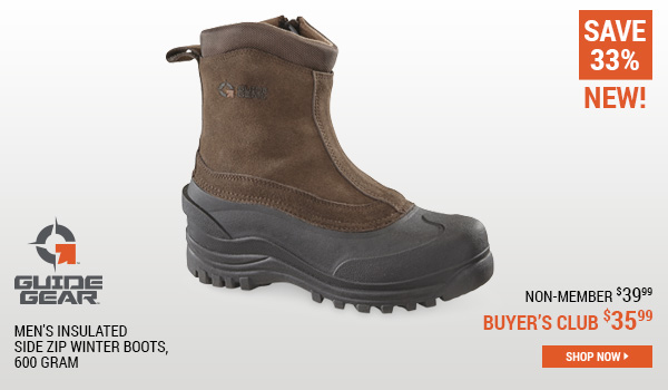 Guide Gear Men's Insulated Side Zip Winter Boots, 600 Gram