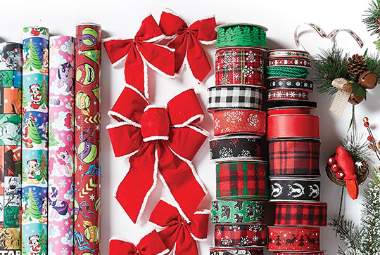 Blooming Holiday Floral, ES Maker's Holiday Decor, Holiday Ribbon, Gift Wrap, Baskets and Tins.