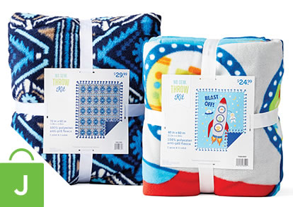 48 inch and 72 inch No-Sew Fleece Throw Kits.