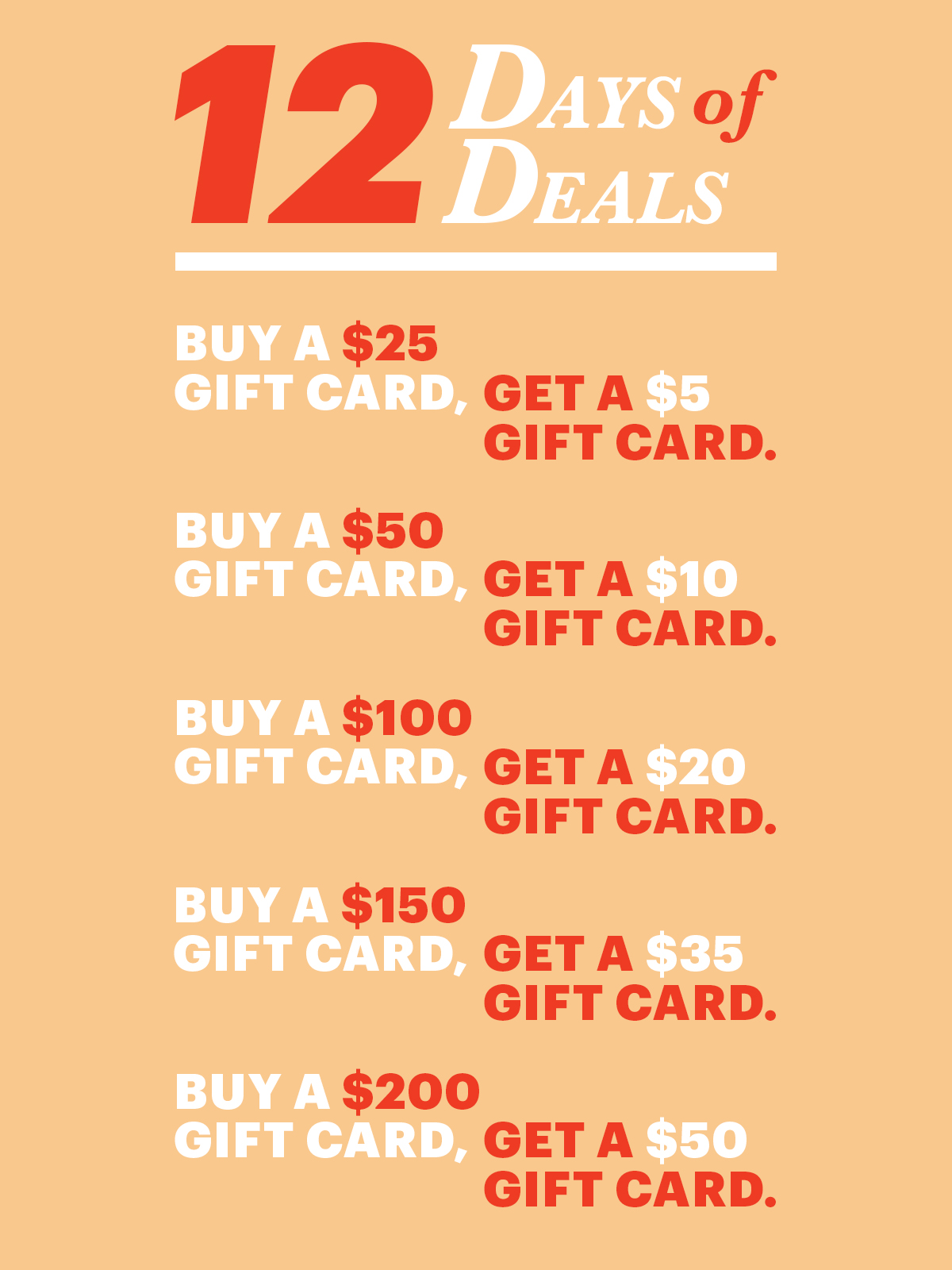 12 Days Of Deals: Day 12 Give A Gift Card, Get A Gift Card