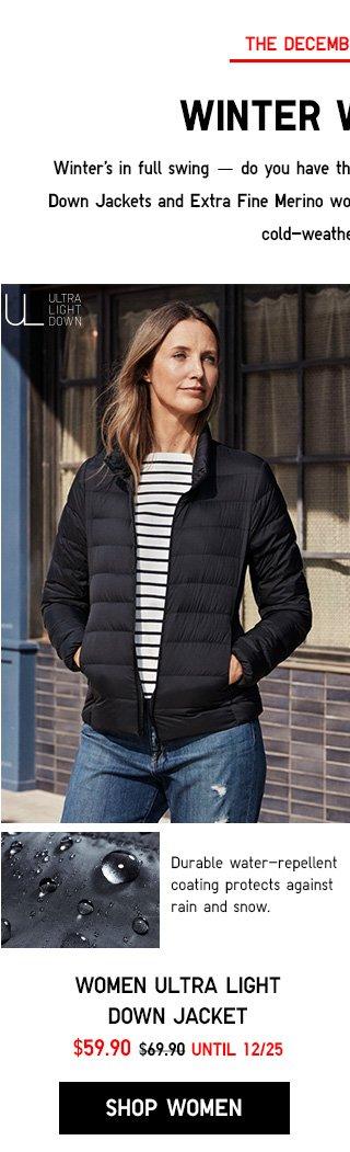 WINTER WARMERS - Women Ultra Light Down Jacket - NOW $59.90 - SHOP WOMEN ULTRA LIGHT DOWN