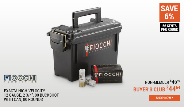 Fiocchi Exacta High-Velocity, 12 Gauge, 2 3/4 Inch, 00 Buckshot, with Can, 80 Rounds