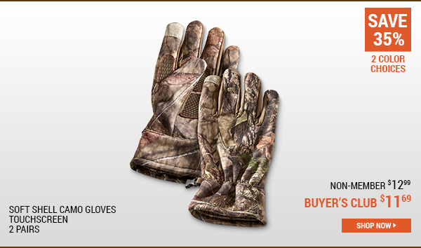 Soft Shell Camo Gloves, Touchscreen, 2 Pairs