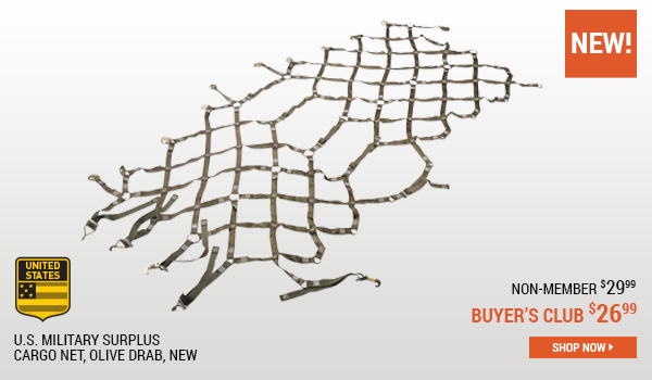 U.S. Military Surplus Cargo Net, Olive Drab, New