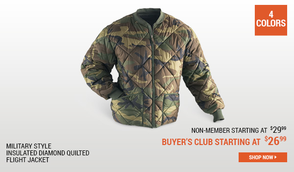 Military Style Insulated Diamond Quilted Flight Jacket