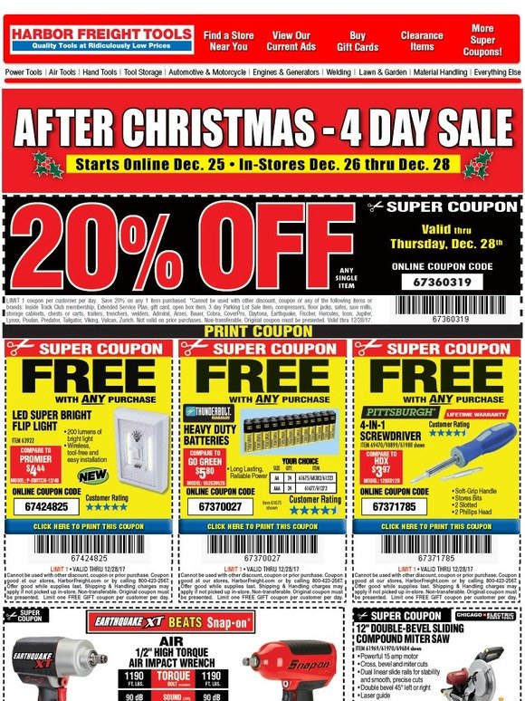 Harbor Freight Christmas Eve Hours.Harbor Freight Merry Christmas After Christmas Sale