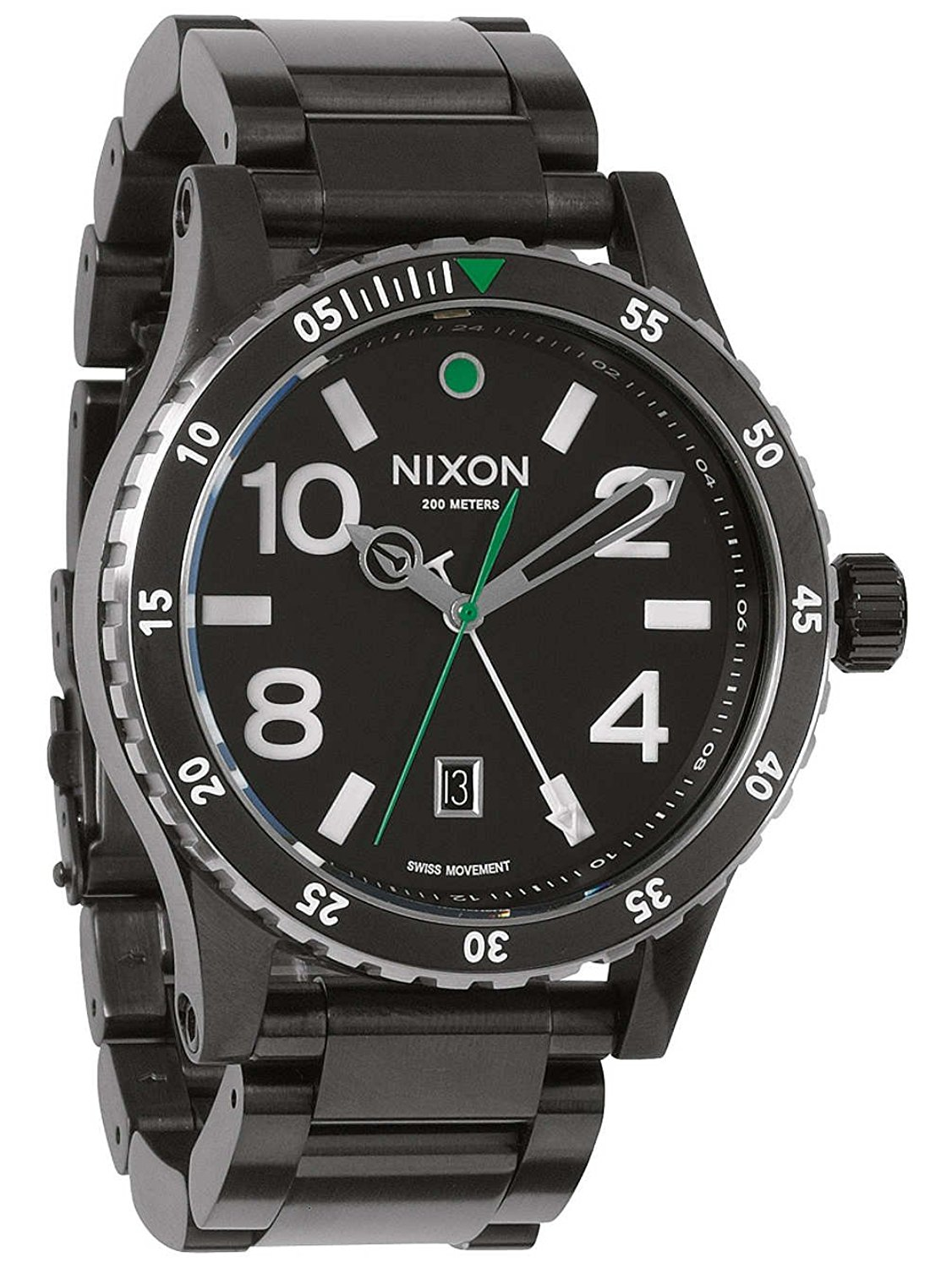 Nixon Men's A277-1421-00 Diplomat SS 45mm Black Dial Black PVD Watch A2771421
